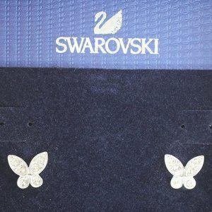 SWAROVSKI SILVER TONE BUTTERFLY CRYSTAL EARRINGS